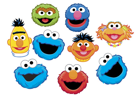 Instant Download Sesame Street Heads Clip Art Set By Wittyprints