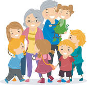 Kids And Their Grandparents   Royalty Free Clip Art