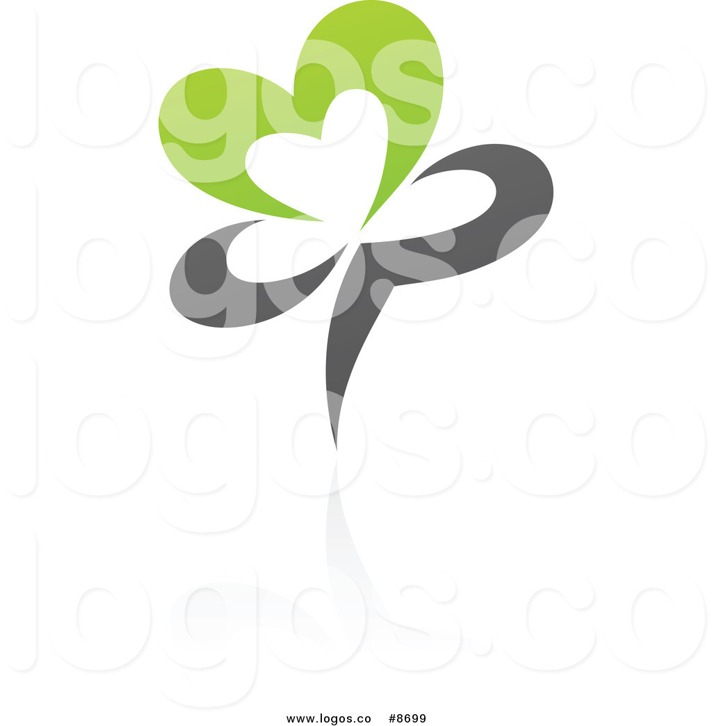 Organic Heart Flower And A Reflection Logo Of A Green And Gray Organic