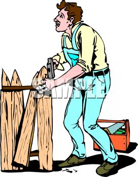 Royalty Free Clipart Image  Handyman Repairing A Broken Fence