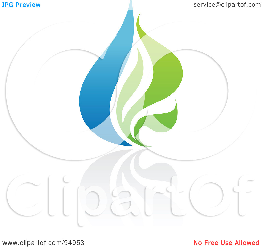 Royalty Free  Rf  Clipart Illustration Of A Blue And Green Organic And