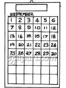 Black And White September Calendar   Royalty Free Clipart Picture