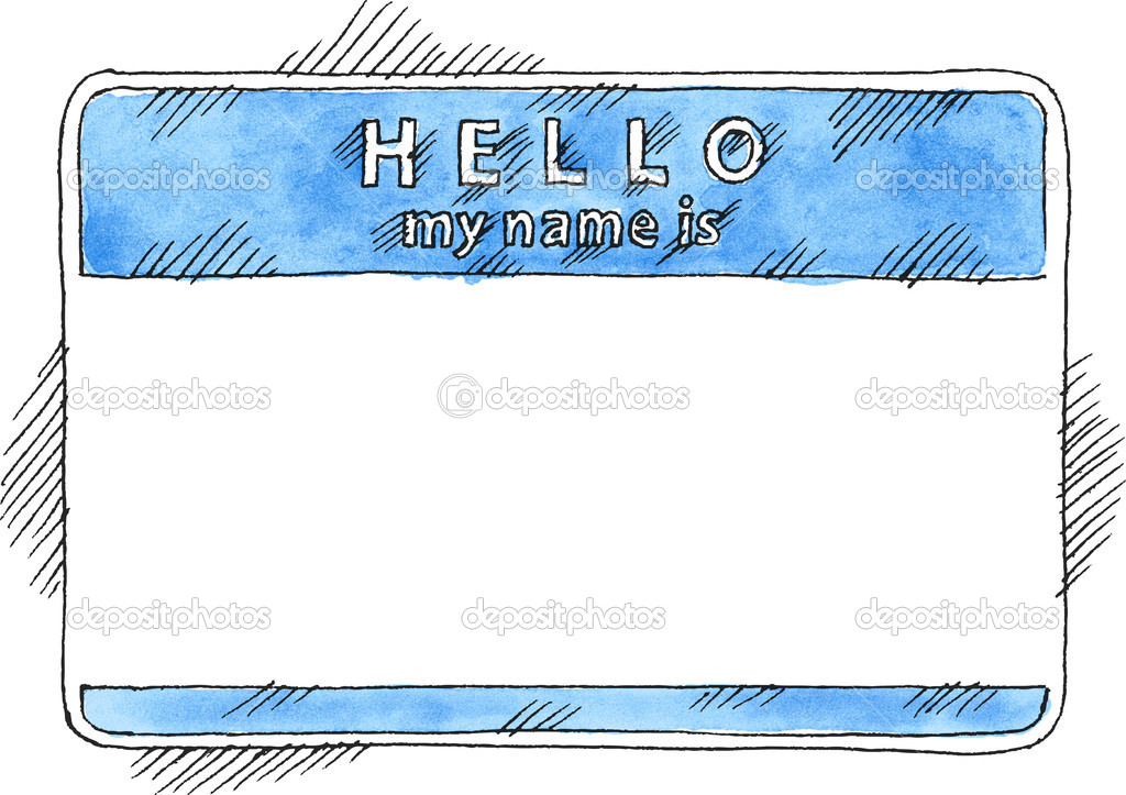 Blue Name Tag Sticker Hello My Name Is On White Background  Blank