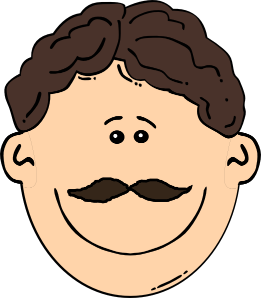 Brown Hair Man With Mustache Clip Art At Clker Com   Vector Clip Art