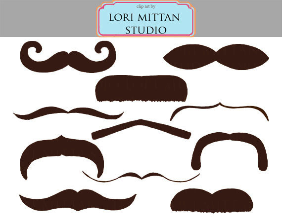 Brown Mustache Digital Clip Art Facial Hair Clip Art Digital Files
