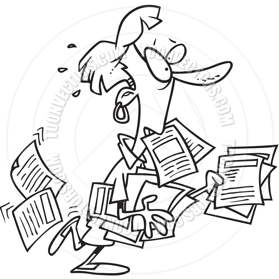 Cartoon Woman Overwhelmed By Paperwork  Black And White Line Art  By