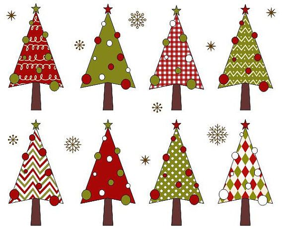 Christmas Trees Clip Art Xmas Trees Clipart Christmas Digital Clip
