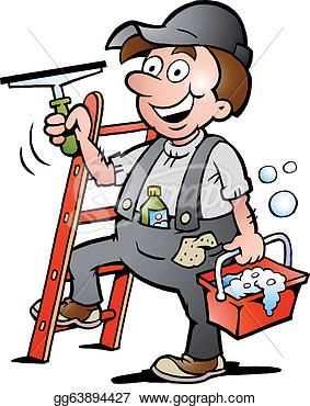 Clip Art   Hand Drawn Vector Illustration Of An Happy Window Cleaner