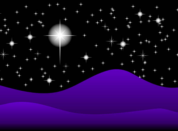 Clip Art Illustration Of A Starry Night Sky And Hills