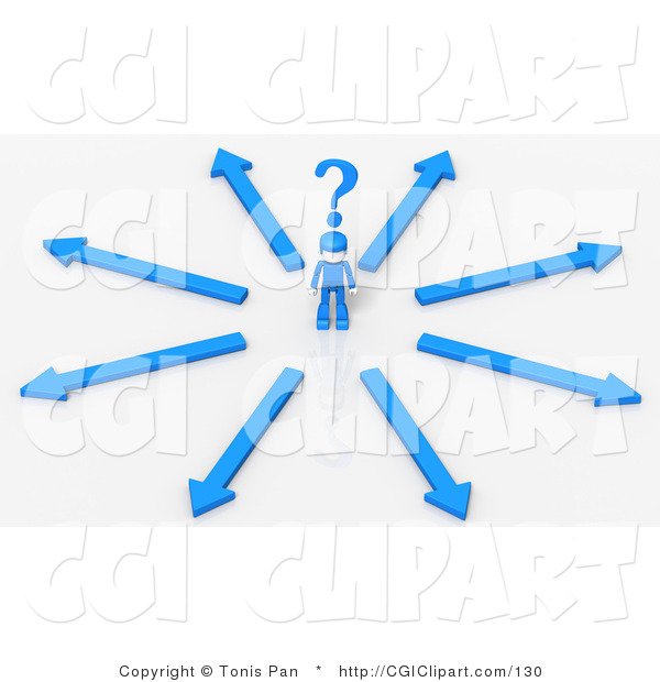 Clip Art Of A 3d Single Blue Person Standing In A Crossroads Of