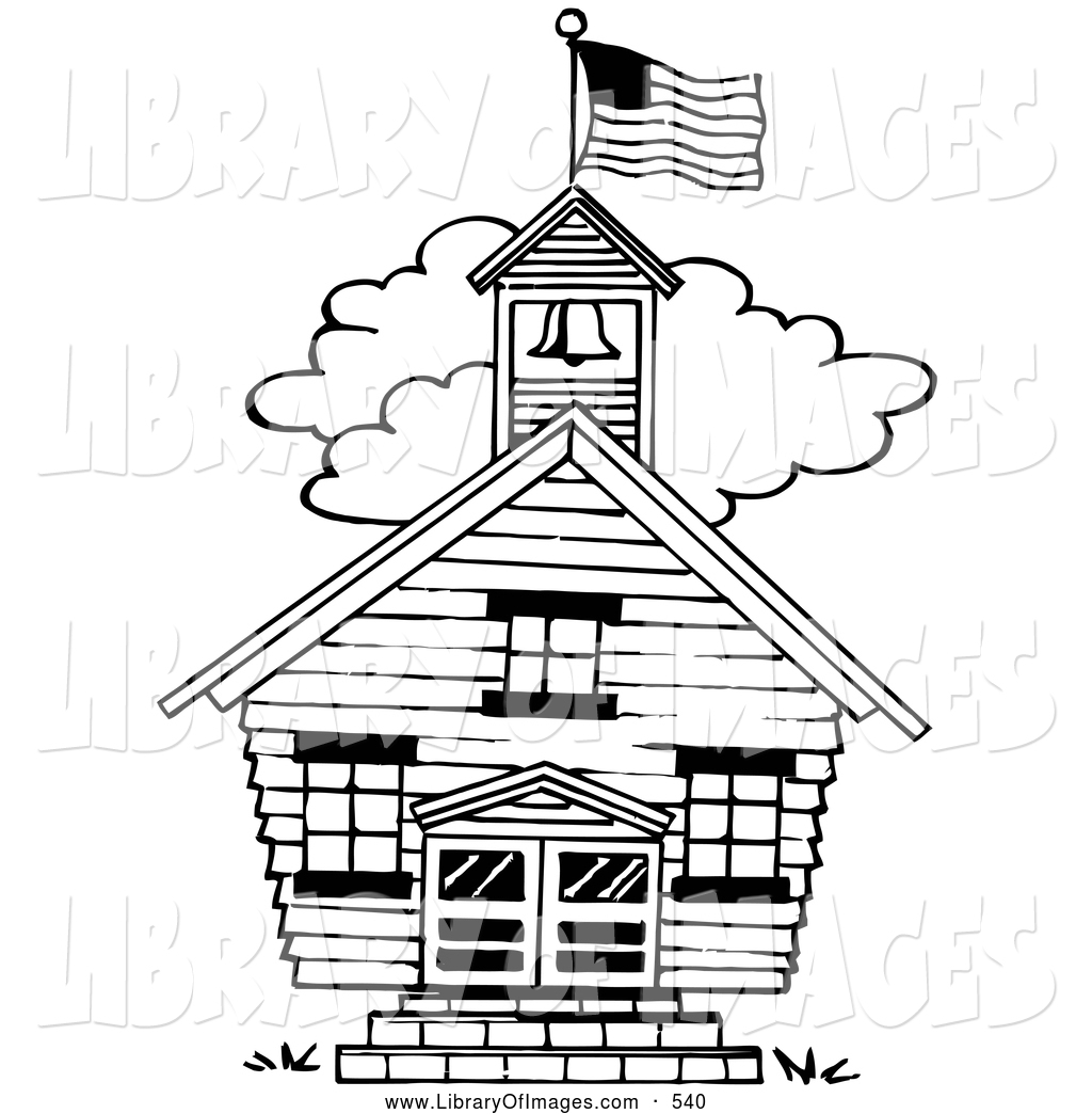 Clip Art Of A Black And White One Room School House By Loopyland