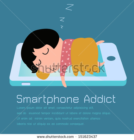 Concept Of Smartphone Addiction  Vector Illustration    Stock Vector