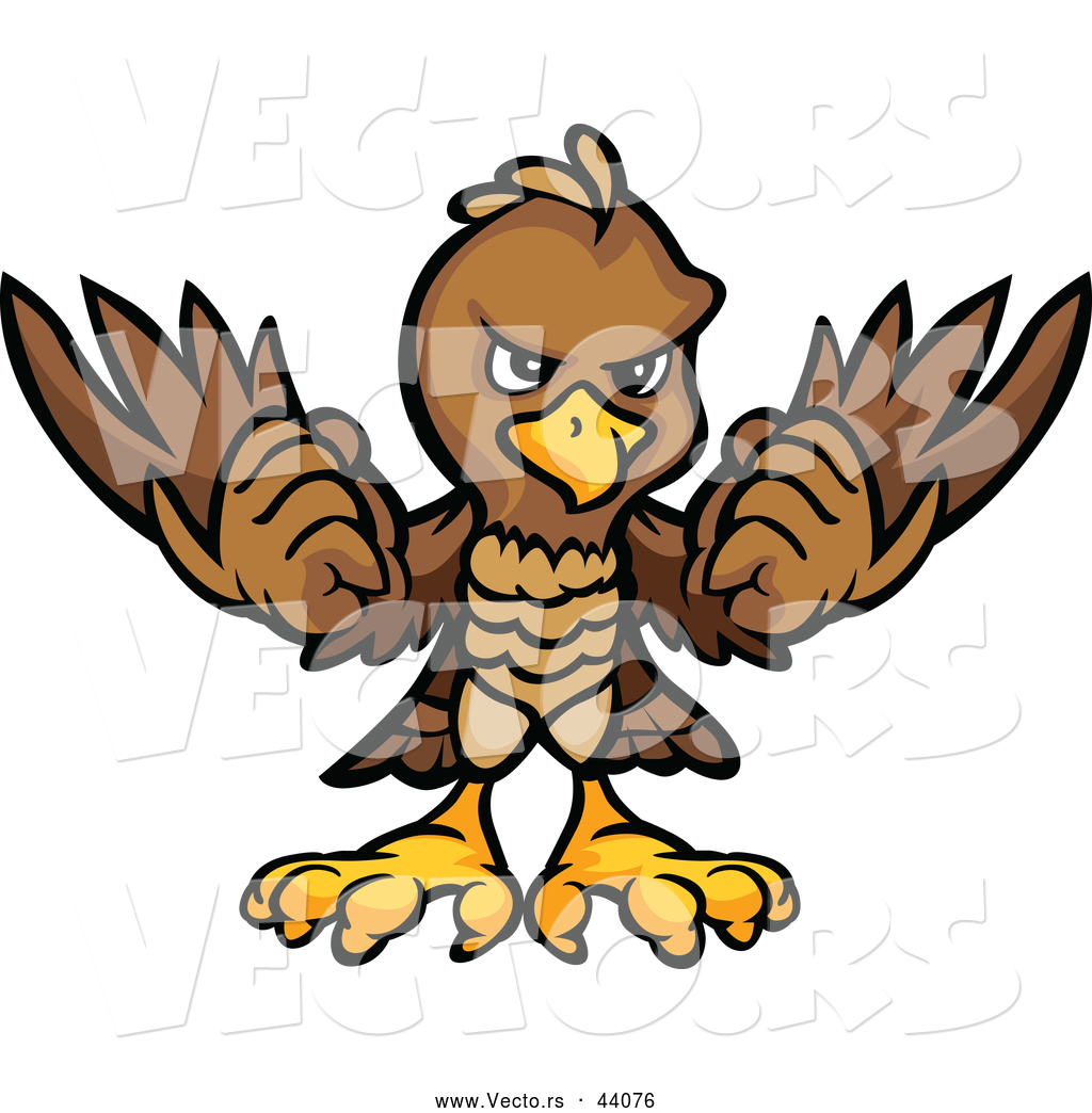 Eagle Mascot Holding Up Its Wings Competitive Cartoon Bald Eagle