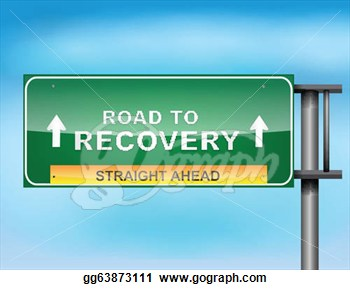 Highway Sign With Road To Recovery  Text  Clipart Gg63873111