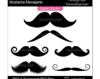 Mustache Clip Art Digital Clipart W Himsical Silly Hair   Mustache