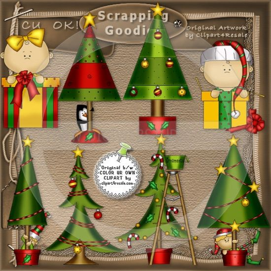 Oh Christmas Tree 1   Whimsical Clip Art By Alice Smith
