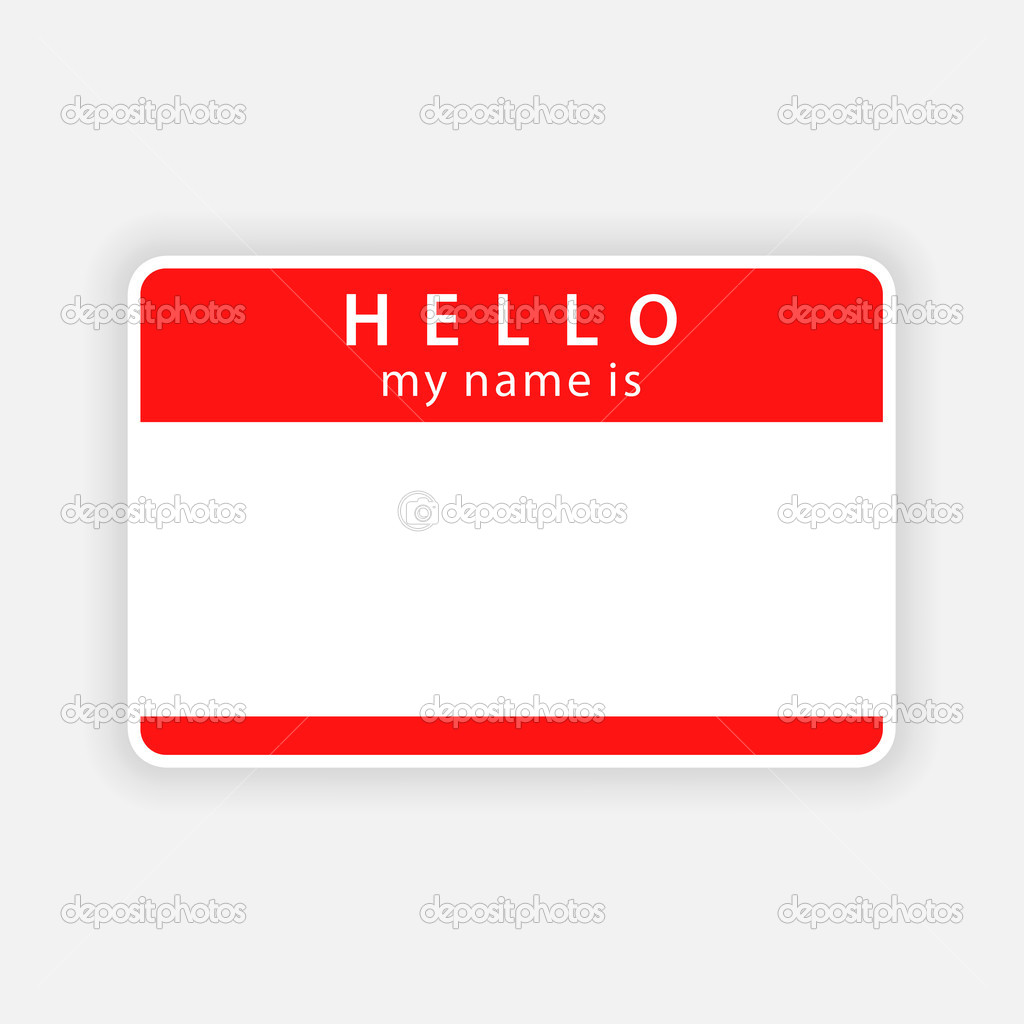 Red Name Tag Empty Sticker Hello My Name Is With Drop Gray Shadow On