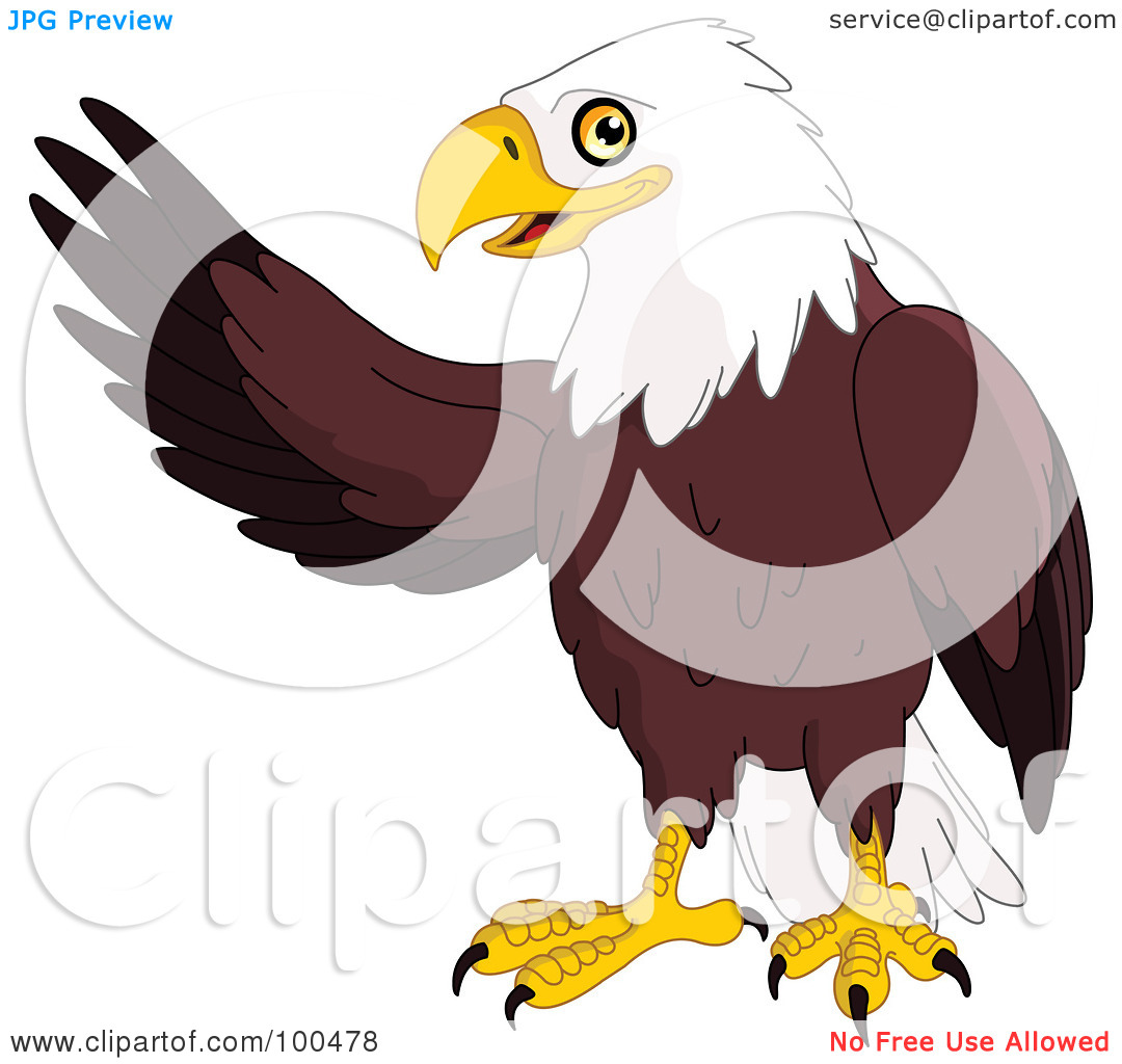 Royalty Free  Rf  Clipart Illustration Of A Friendly Bald Eagle Waving