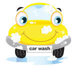 Bubbles Vector Illustration Of Happy Yellow Car In Car Wash Cleaning