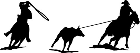 Decal Depicts A Rodeo Team Roping Silhouette   Calf Roping Silhouette