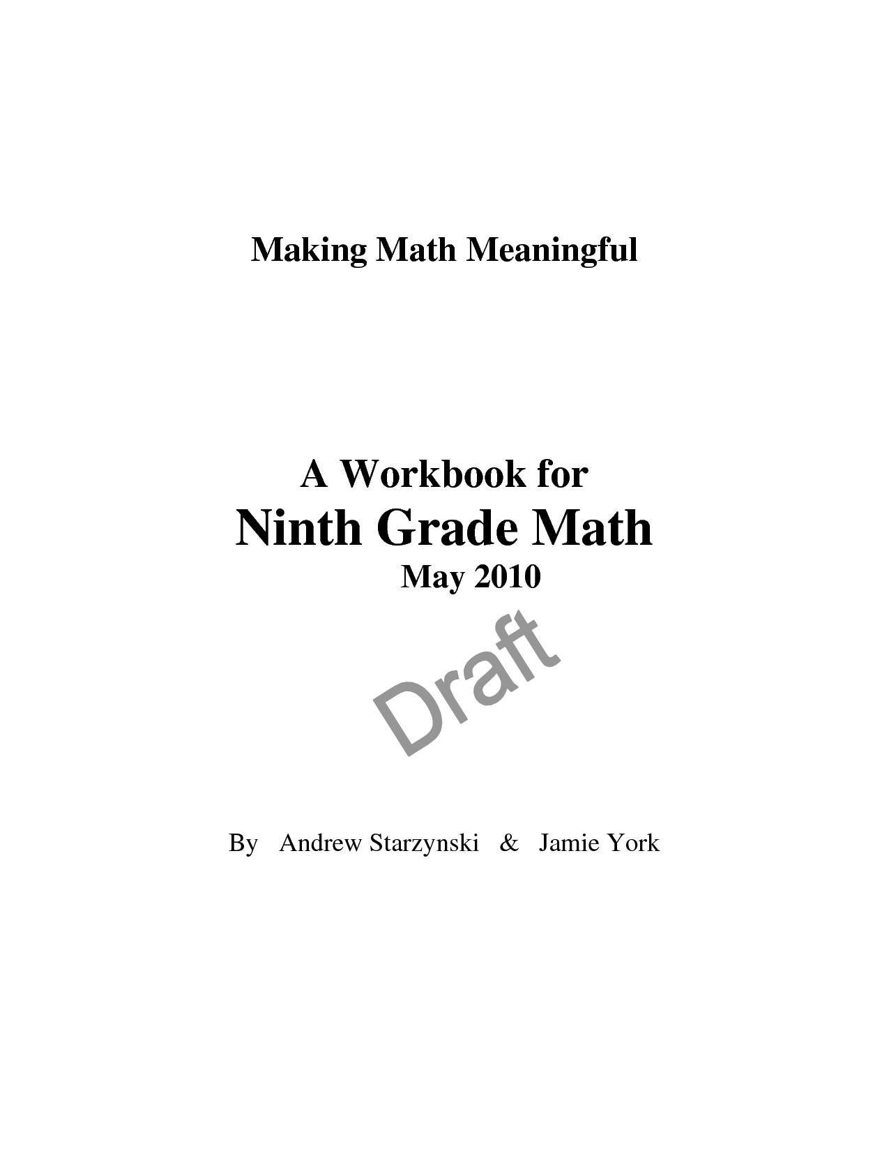 9th grade math workbook pdf