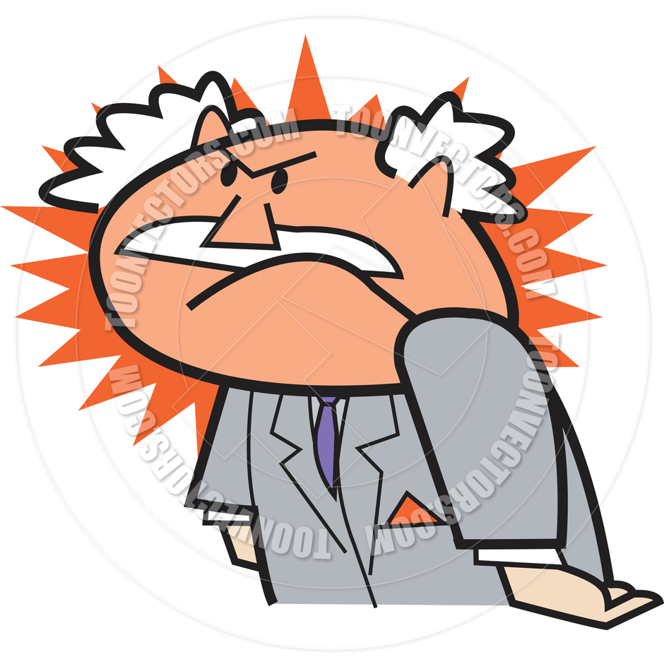 Cartoon Business Man Angry Vector Illustration By Clip Art Guy   Toon