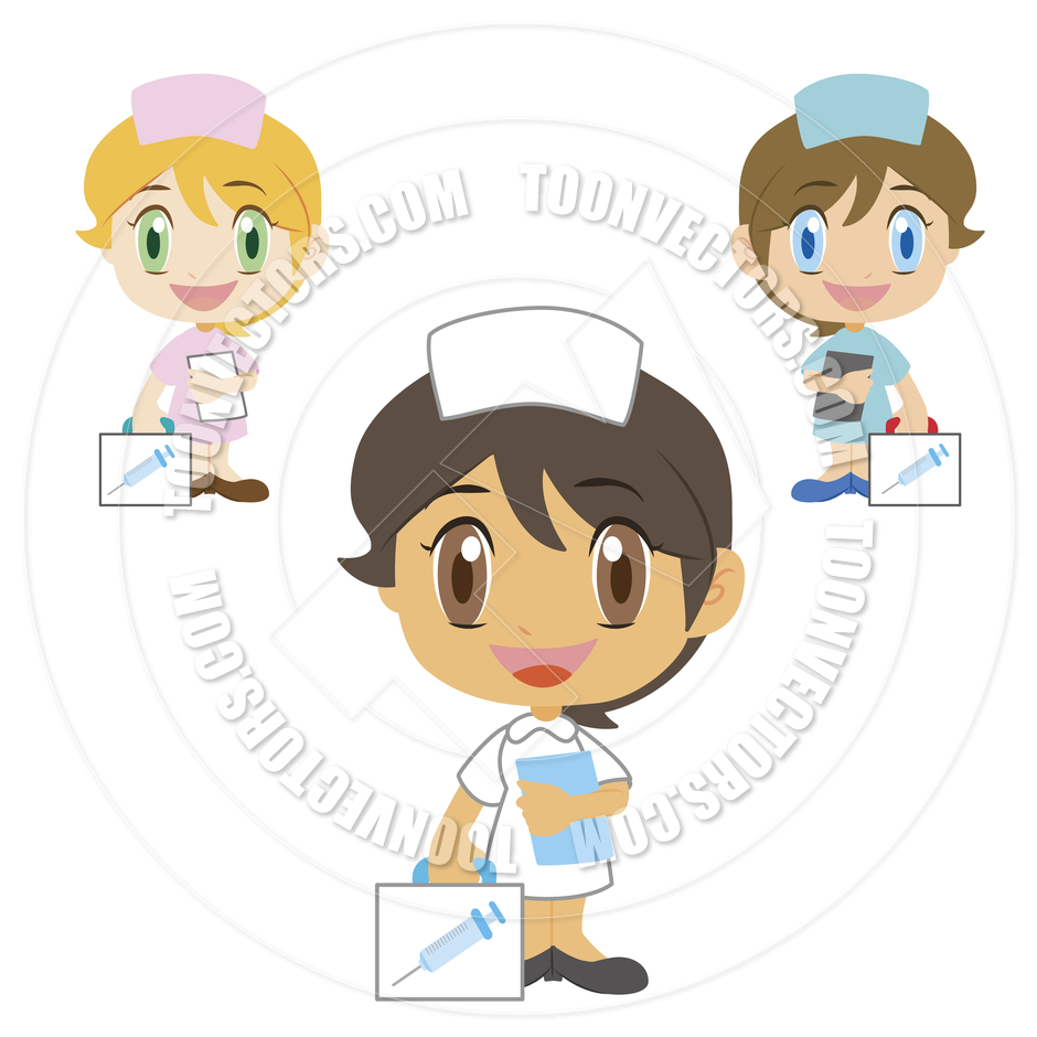 Cartoon Cute Nurses With First Aid Kit By Totallypic Com   Toon