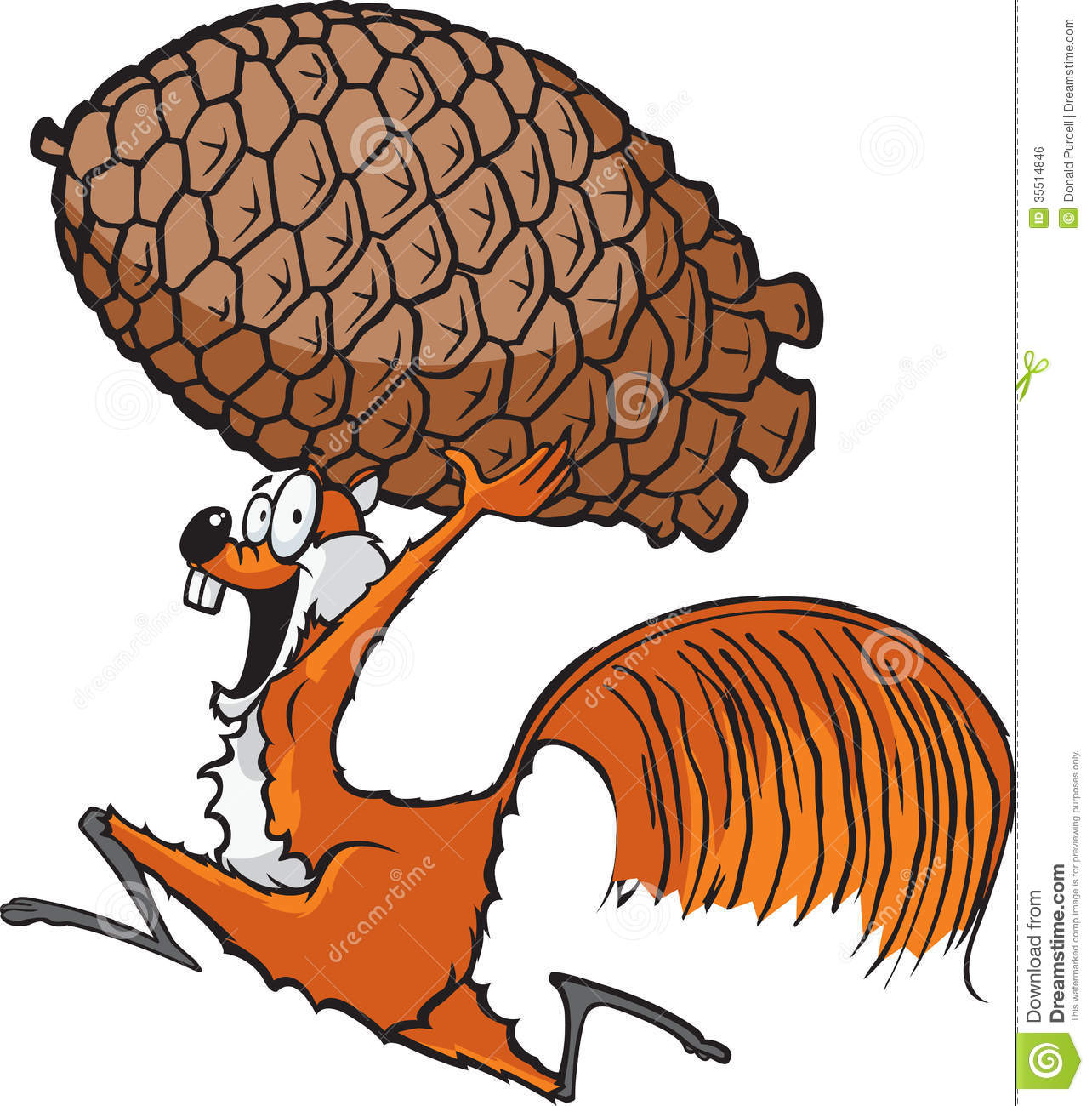 Cartoon Squirrel Running With A Pinecone  Vector And High Resolution