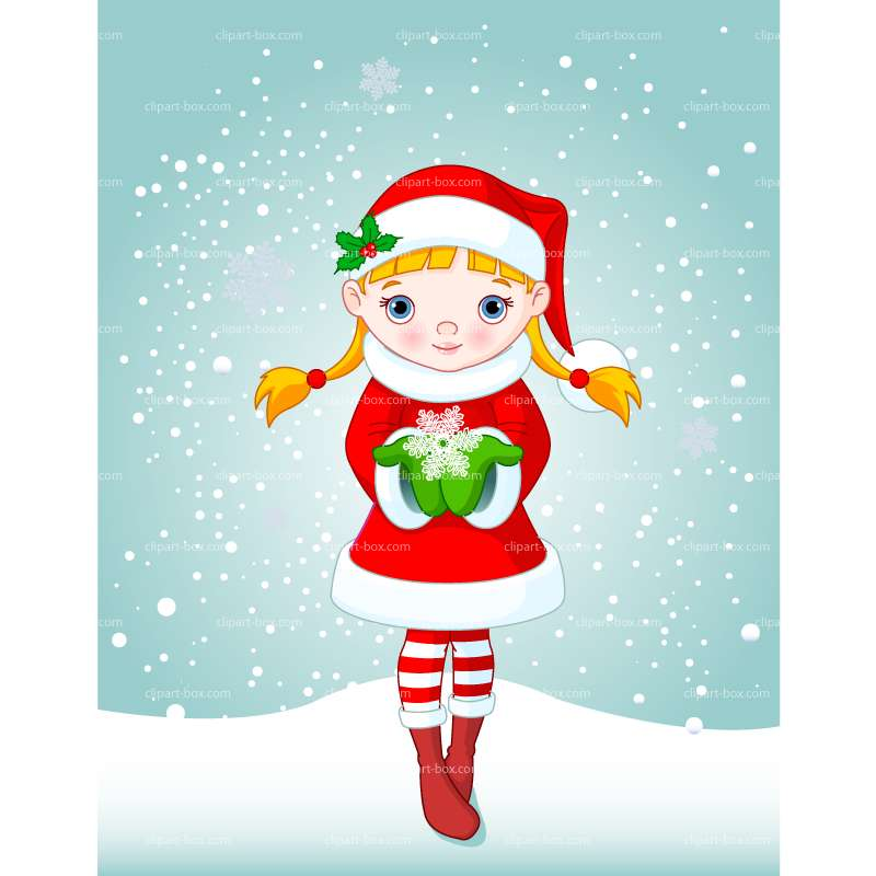 Clipart Cute Christmas Girl   Royalty Free Vector Design