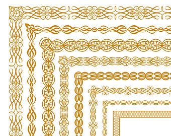 Decorative Digital Bor Ders Clipart Golden Vector Lace Frames
