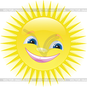 Funny Cartoon Sun Smiling   Vector Clip Art