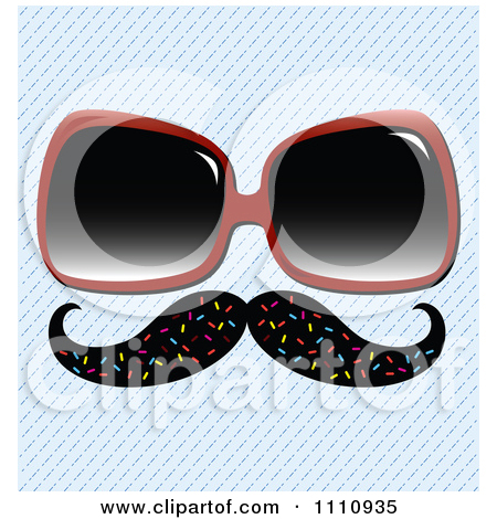 Poster Art Print  Disguise Mustache With Sunglasses Over A Diagonal