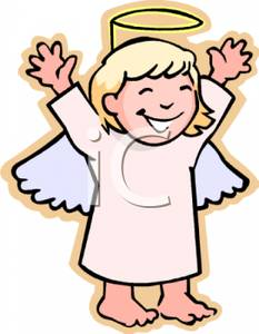 Wearing A Angel Costume With A Halo   Royalty Free Clipart Picture