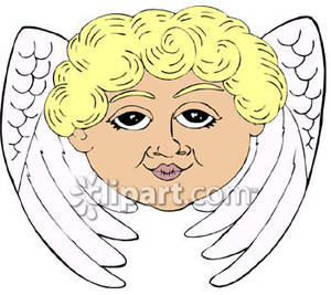 An Angel S Face And Wings   Royalty Free Clipart Picture