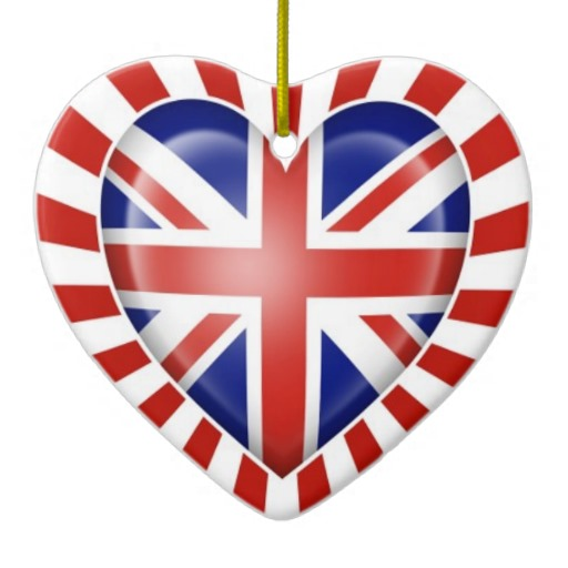 British Heart Flag With Star Burst Christmas Tree Ornament   Zazzle