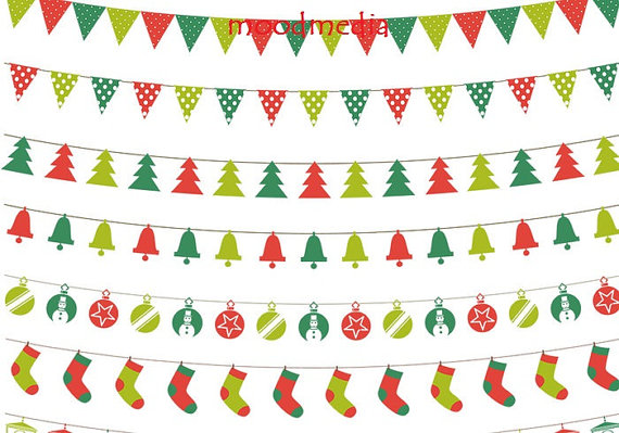 Christmas Bunting Clipart Christmas Banners Clipart By Moodmedia