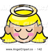 Clip Art Of A Happy Blond Angel Girl Face With Pink Cheeks By Rosie
