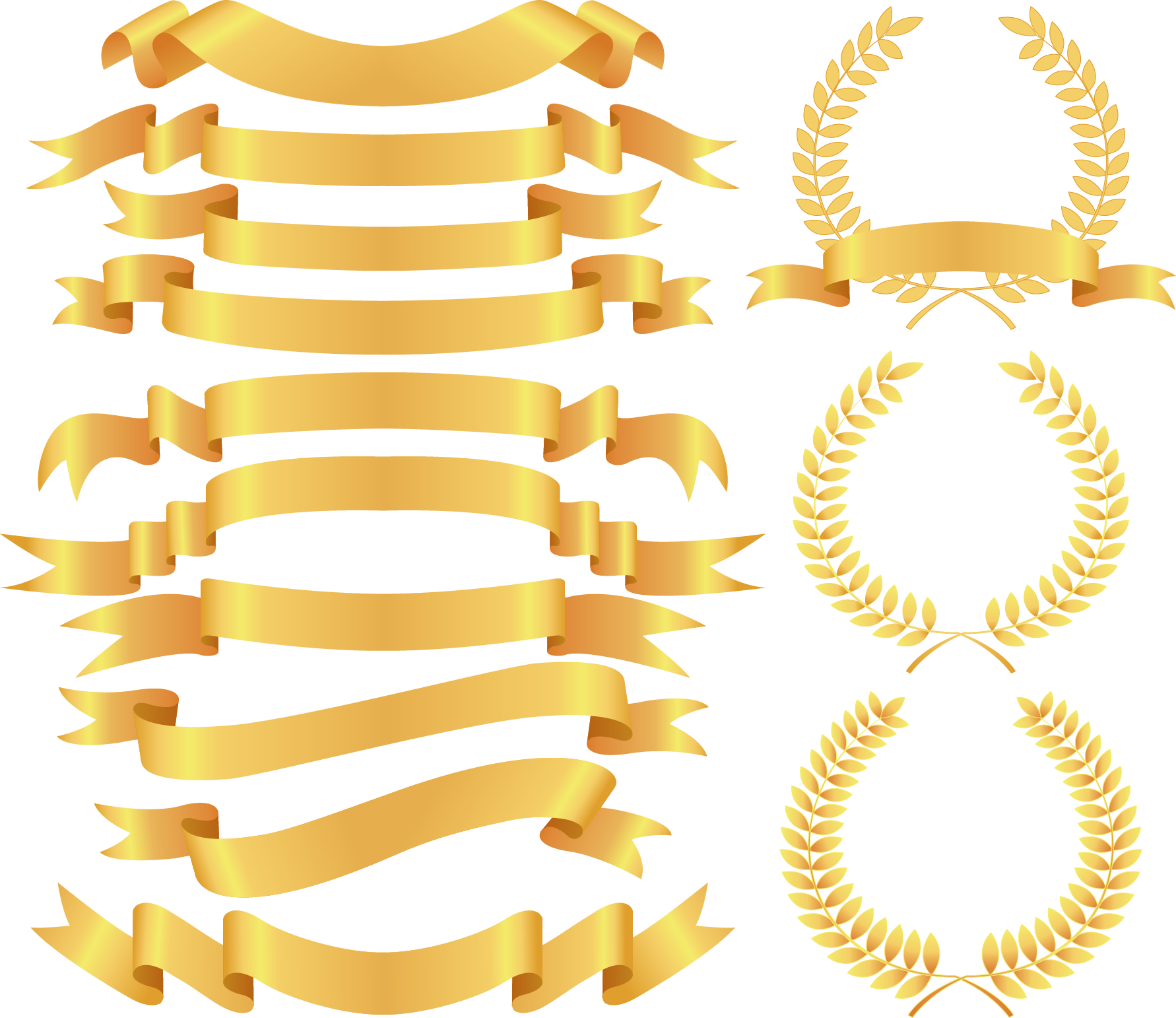 Gold Ribbon Clip Art Clipart Ribbon Curved