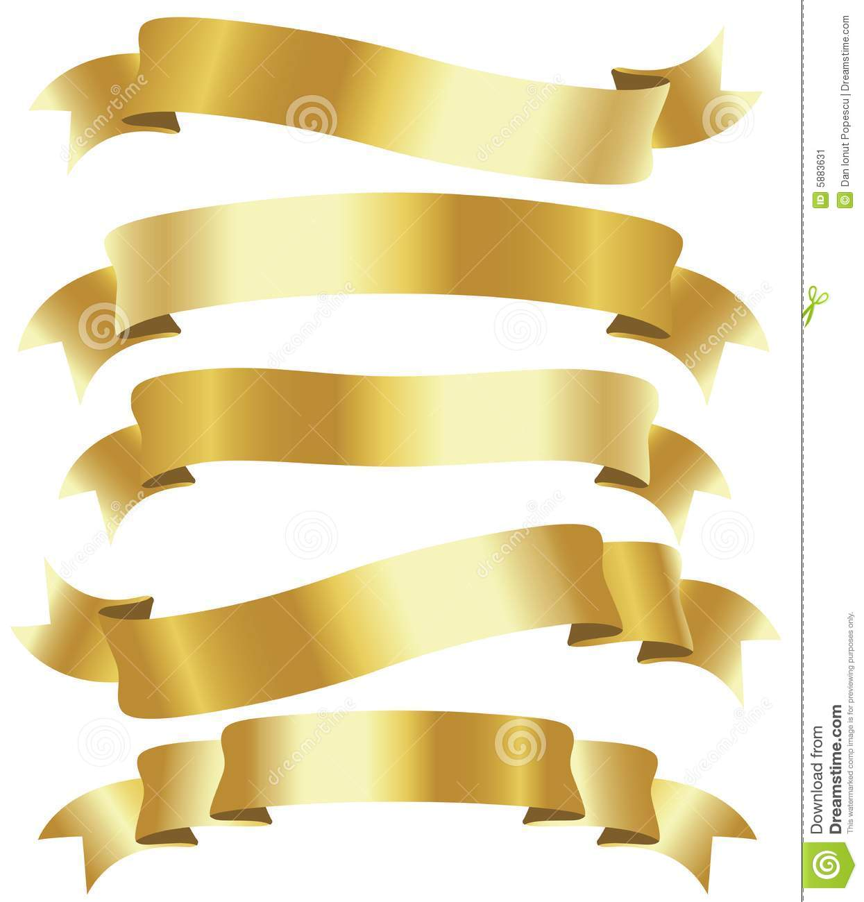 Gold Ribbon Clip Art Golden Ribbons