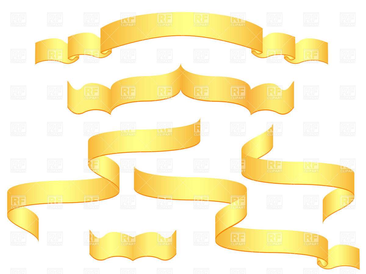 Golden Blank Banners And Ribbons 19369 Download Royalty Free Vector