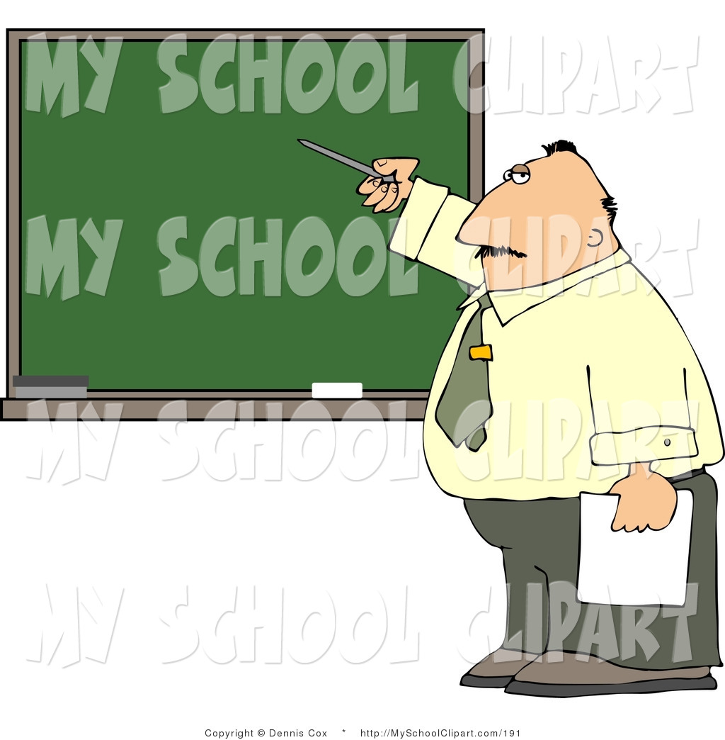 Larger Preview  Clip Art Of A Male School Teacher Pointing At A Blank