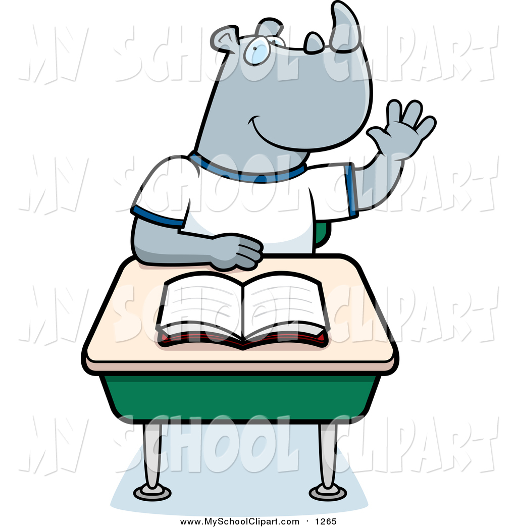 Larger Preview  Clip Art Of A Smart Gray Rhino Student Raising His