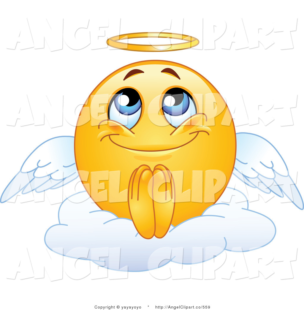 Larger Preview  Clip Art Of A Vector Angel Emoticon Praying On A Cloud