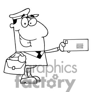 Postal Carrier Holds A Envelope In Black And White