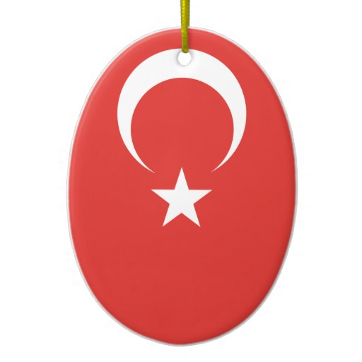 Turkish Flag Double Sided Oval Ceramic Christmas Ornament