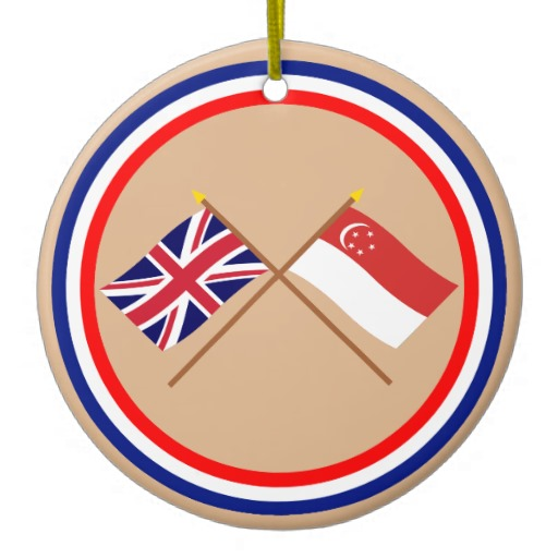 Uk And Singapore Crossed Flags Christmas Ornaments   Zazzle