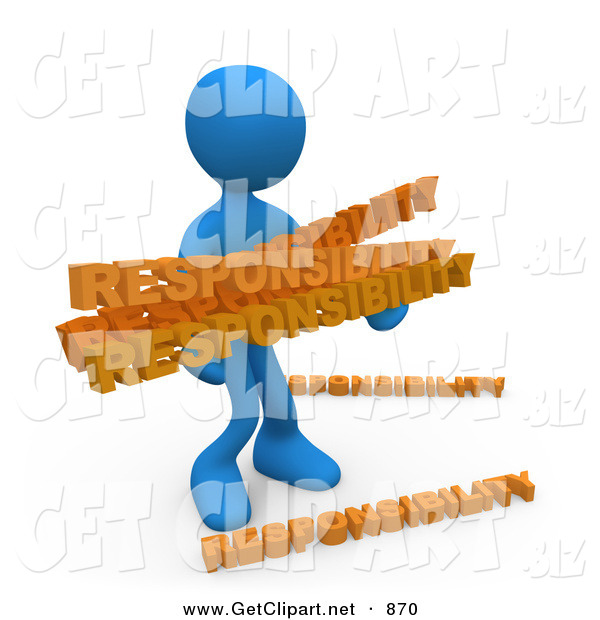 3d Clip Art Of An Overwhelmed Dependable Blue Man Carrying A Heavy And