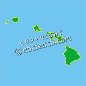 Clip Art Us State Maps Hawaii Color Geography Illustration Hawaii Map