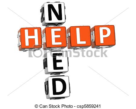 Clipart Of Need Help Crossword   3d Need Help Crossword On White