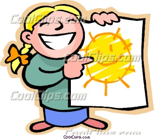 Little Girl With A Happy Sun Drawing
